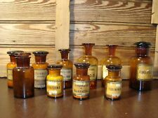 Antique Set Of Ten 19th Century Pharmacy Amber Glass Bottles Apothecary