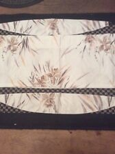Unused White Beige Floral Curtain Pelmet 2.55M X 0.3M Ungathered & Tiebacks