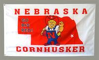 NEBRASKA CORNHUSKERS GO BIG RED FLAG 3X5FT BANNER US SHIPPER