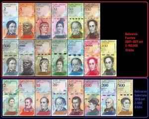 Venezuela Full Set 2 - 100000 Bolivares & 2 - 500 Soberanos (21 banknotes) UNC