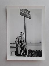 c1950 B/W Photograph. Young Man in Suit. British Colonial Sign. Merchant Navy