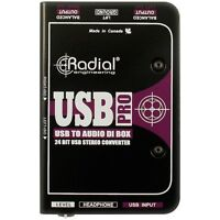 Radial Engineering USB-Pro Stereo USB Laptop DI NEW! FREE 2-DAY DELIVERY!!
