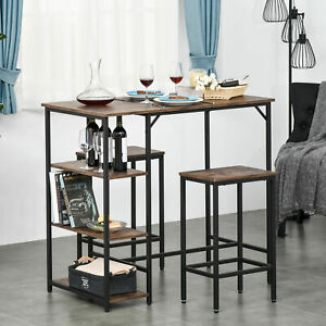 Bar Height Dining Table Set With 2 Stools & Side Shelf 3 Pieces Bar Set