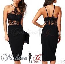 Ladies Womens Midi Dress Bodycon Black Party Pencil Wiggle Evening Size 12 14