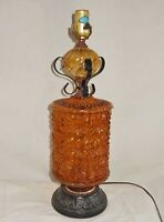 Amber Lamp Vintage 60s Faceted  Glass Urn Wrought Iron Trim Moderne Mid Century