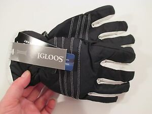 New Girls IGLOOS Ski Gloves WATERPROOF 3M THINSULATE ISOLANT~Black~Size S-M