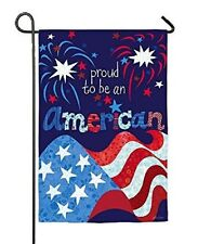 NEW Proud to Be An American Fireworks 2 Sided Patriotic Garden Flag 4th of July
