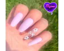 20 Set Purple Lilac Clear Flower Hand Painted Press On Fake False Nails Glue