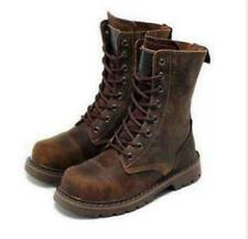 Womens Lace Up Punk Military Combat Outdoor Motocycle Ankle Boots Leather Shoes