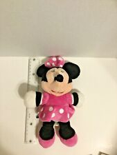 "Disney Minnie Mouse Plush Soft Doll Pink White Polka Dot Dress Stuffed Toy 12"""
