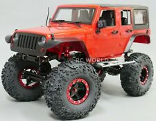 1/10 Scale Truck Body Shell JEEP WRANGLER RUBICON 4 Door Hard Body RED + Decals