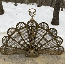 Victorian Antique Brass Peacock Folding Fire Screen Stand w/ Goddess & Dragon