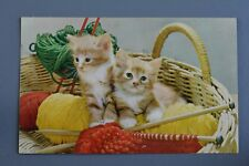 R&L Postcard: Kittens Cats In Basket Of Knitting Wool Bamforth Animal Series