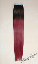 "100% Remy Human Hair Super Tape-in Extensions Balayage/Ombre (20""/52cm) T1B/99J"
