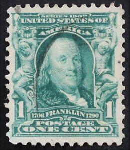 U.S. Used #300 1c Franklin, Superb. Face-Free Cancel. A Gem!