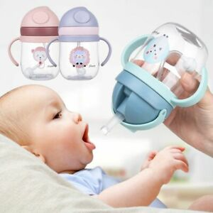 Cartoon Portable Drinking Bottle Straw Drinkware Baby Feeding Cup Water Cup
