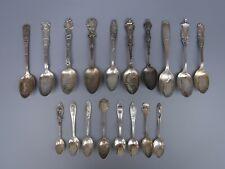 18pc Lot Antique Sterling Silver Collector Souvenir Spoons