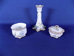 Frank Haviland Limoges Floral Candlestick + 2 Pots