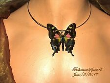 ARTURO E.REYNA REAL BUTTERFLY STERLING SILVER WIRE PENDANT CHOKER NECKLACE