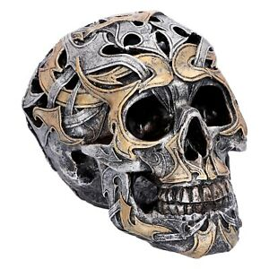 Nemesis Now - TRIBAL PATTERN SILVER GOLD GOTHIC SKULL - Tribal Traditions 14cm