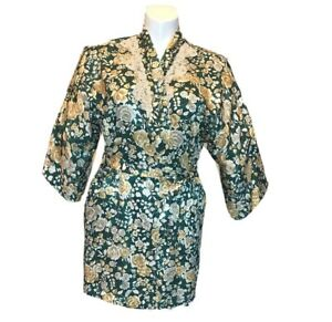 California Dynasty Green Floral Satin Finish Lace Trim Robe Tie Belt Large