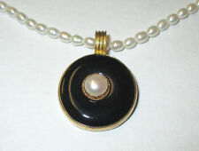 Elegent Sterling Silver Gold Plated Onyx Cultured Pearl Necklace W/ Box *