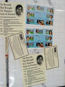 2x sheetlets GUYANA stamps postal postage stamp set OJ SIMPSON athletes ics coa