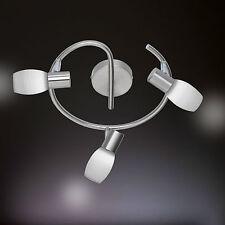 WOFI lámpara LED de techo colo 3 llamas Níquel Cristal Blanco Limpiado 15 vatios