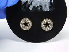 Marc Jacobs Pave Star disc Studs stud Earrings Antique gold-tone crystal $60 val