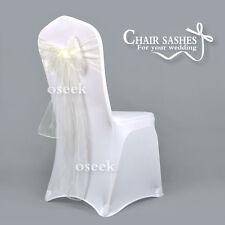 50pcs Sheer Organza Chair Sashes Bows Wedding Party Cover Banquet Decorations