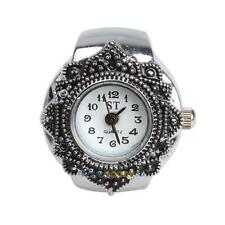 Cute Creative Girls Tibet Silver Petal Flower Quartz Finger Ring Watch Brand New