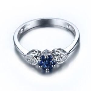 Solid 14k White Gold Brilliant Sapphire Flower Wedding Diamonds Ring Fine Gift