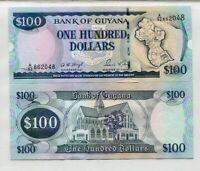1989 UNC SIGN 8 SCARCE GUYANA 100 DOLLAR P-28 ND