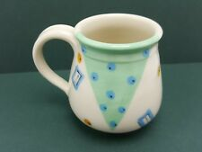 Kelly Swope Signed Pottery Coffee Mug 1980s Geometric Small