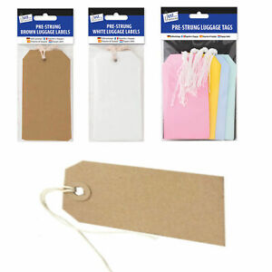 Luggage Tags Label - Brown/White/Colour - Prestrung Gift Labels Tag UK Supplier