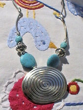 silver atlantis swirl engraved native american necklace spiral turquoise