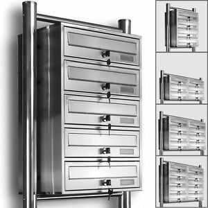 Kelvin® Edelstahl Standbriefkasten Briefkasten Anlage 3,4,5,6,8,10 & 12er