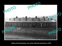 OLD LARGE HISTORIC PHOTO OF BELLWOOD PENNSYLVANIA THE RAILROAD ROUNDHOUSE c1910