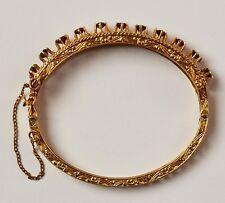 Wunderschöner Armreif 14 Karat 585 Gold 18,62 g Gelbgold 11 Granatsteine Granat