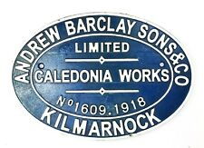 Vintage Style Andrew Barclay Kilmarnock Railway Locomotive Cast Iron Plate Sign