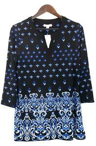 Charter Club Women's Sz Medium 3/4 Sleeve V-Neck Gold Standard Modern Blue Combo