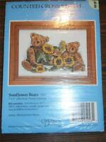 "CANDAMAR DESIGNS Counted Cross Stitch Kit SUNFLOWER BEARS - 7"" x 5"""