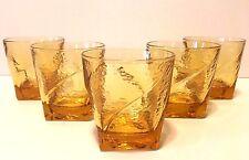 Vintage Set of 5 Amber Cocktail Glasses With Square Bottom Base 6 oz