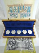 1975 5 PIDYON HABEN PROOF COINS SET +OLIVE WOOD BOX+CERTIFICATE 117g PURE SILVER