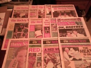 LOT OF 14 ISSUES OF THE HOCKEY NEWS 1 EACH YEAR FROM 1978 TO 1991