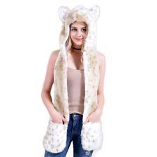 Wolf Faux Fur Animal Ear Hat Gloves Mitten Long Scarf Snood Hood Hallowen Gift