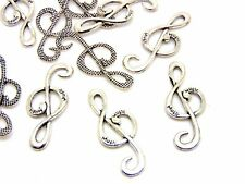 10 Pcs - Tibetan Silver Music Note Treble Clef Charms Jewellery Craft N184