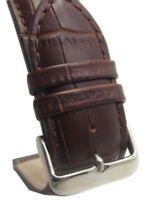 24mm Italian Genuine Leather Italy Dark Brown Croc Watch Band Strap