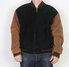 "Pelle scamosciata Bomber Harrington Stile Varsity Giacca Cappotto XL 44"" - 46"" (5DC) anni'90"