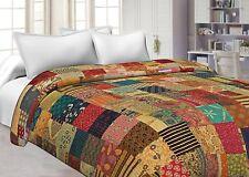 Indian quilt handmade patchwork kantha blanket cotton twin size bedspread gudari